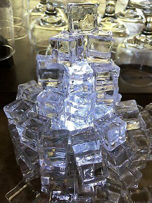 60 PCS Crystal Clear Artificial Acrylic Ice Cubes Square Shape Props Decor