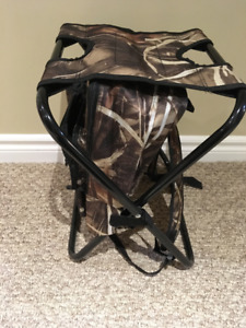 Camo Camping Stool Backpack w/Cooler Compartment