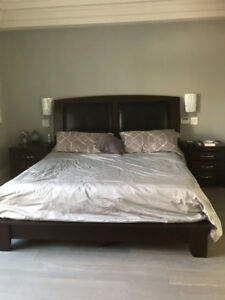King Bedframe and 2 side tables and chest of draws
