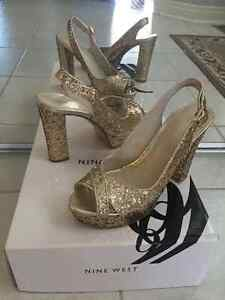 Brand new gold Nine West heels