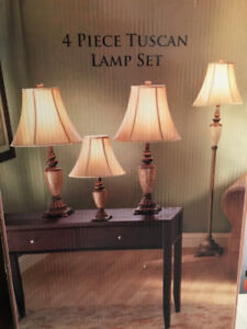 4 piece table and floor lamp set