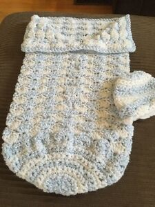 Baby Snuggly with Hat-Hand Made-Crocheted (Blue & White)