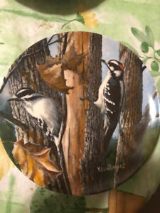 """Kevin Daniel Collectible Plate """"The Downy Woodpecker"""""""