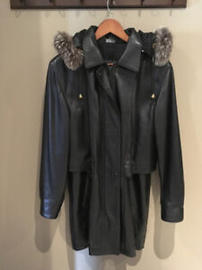 Black Leather Anorak Winter Coat