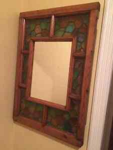 Old Stained Glass Window with Mirror centre