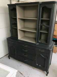 Handpainted china cabinet, hutch, display cabinet