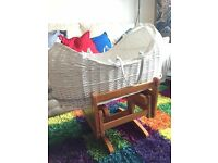 Mothercare Apples And Pears Moses Basket With Gliding Moses Basket Stand