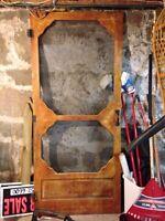 Screen door, dresser, table, mirror, old window, etc