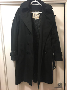 London Fog  Belted Trench Coat - XS - Black