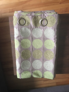 Curtains - Taupe with Green Dots