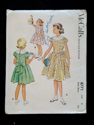 1950's Vintage McCALL #8771 Fashion PRINTED DRESS PATTERN / Girls Size 6