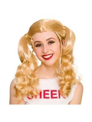 Ladies Blonde Pigtails Cheerleader School Girl Wig Fancy Dress Accessory Hen New