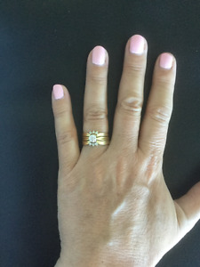 1/2 carat brilliant cut diamond ring and matching bands