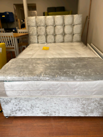 2. Brand new crushed velvet bed and orthopedic mattress