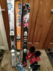 Variety of skis, boots and bindings- nordic and downhill