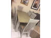 New range dining set tables and chairs grey and oak
