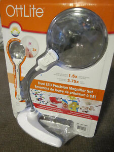 OttLite Dual LED Precision Magnifier Set - new, open package