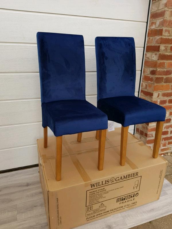 4x Willis & Gambier Fletton Royal Blue Velvet Fabric Dining Chairs | in  Retford, Nottinghamshire | Gumtree