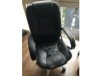Black Leather Office Chair - Needs Reupholstered