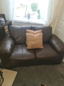 Brown leather 3 and 2 seater