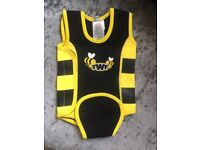 TWF Baby Swimming Wrap Wetsuit 0-6 Months Black and Yellow -