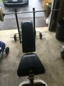 Weight bench bars and weights. Cambridge Kitchener Area image 5