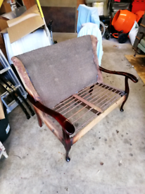 Antique Vintage Two Seater Chair for Restoration