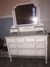 Antique French White Distressed Shabby Chic Dressing Table
