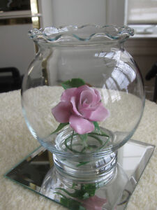 TWO LARGE MATCHING FRILLY-TOPPED POTTY-SHAPED ROSE BOWL