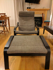 Ikea Poang Armchair and Footstool Black and Grey