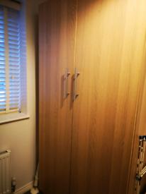 IKEA Pax Double Wardrobe White Stained Oak Effect