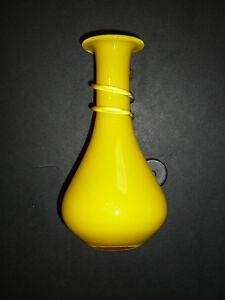 """Mignon vase en verre souflé jaune style Murano 6,5""""x3"""" fait main West Island Greater Montréal image 3"""