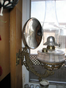 OIL LAMP WITH CAST IRON WALL MOUNT + MERCURY GLASS REFLECTOR