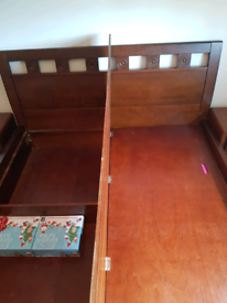 Superking - sold Wood bed with matching side tables