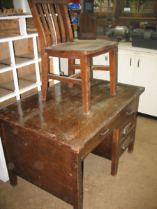 1940's oak desk and chair