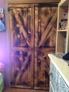 home crafted barn style closet doors