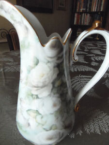 'Antique Rose' collector pitcher,sweets dish & gold rimmed plate