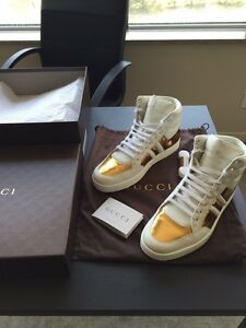 Gucci shoes (gold contrast padded leather high tops) Authentic
