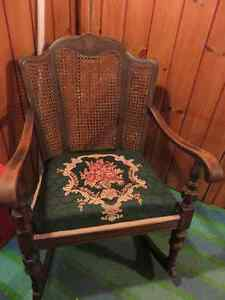ANTIQUE ROCKING CHAIR NEW UPHOLSTERY GREAT CONDITON