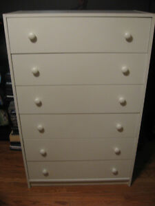 VERY NICE 6 DOOR TALL  DRESSER WHITE