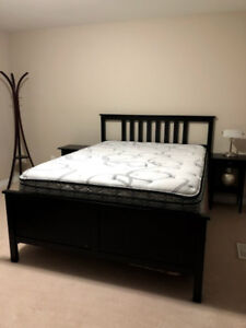 Ikea Hemnes Queen Size Bed Set with Night Stand - Dark Brown
