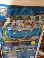 10 ft. round outside swimming pool. Includes all accessories.