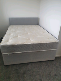 BRAND NEW Double bed, orthopaedic mattress and grey headboard