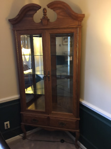 Corner Oak Curio Cabinet for Sale