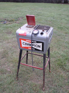Vintage Advertising Champion Spark plug Cleaner Cabinet w/Stand