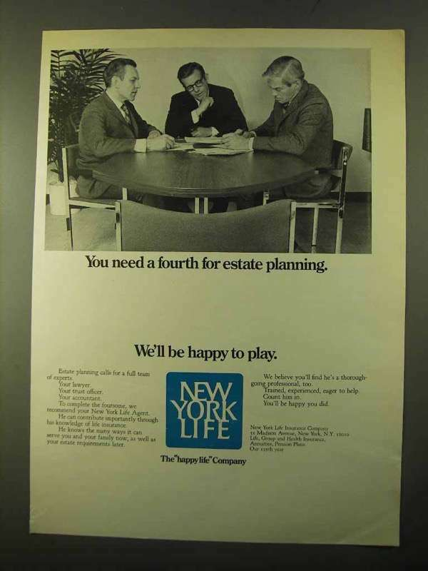 1970 New York Life Ad - Fourth for Estate Planning