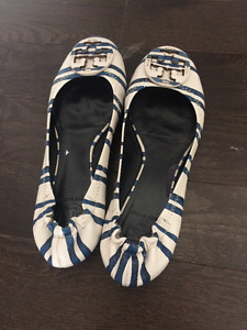 Tory Burch New Navy Striped Shoes