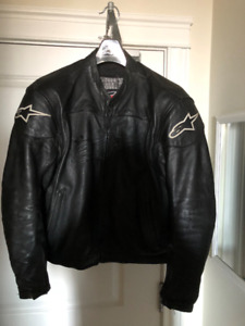 alpinestars black label leather motorcycle jacket,mens large