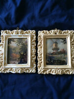 Set of 2 Vintage Silhouette Reverse Painting on Convex Glass
