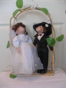 "THE ""BRIDE & GROOM"" 2 ""VANESSA"" GENUINE PORCELAIN DOLLS"